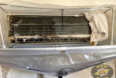 While cleaning your air conditioner we protect your home from cleaning debris.